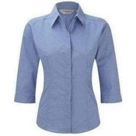 Women's 3/4 sleeve polycotton Easycare fitted poplin shirt