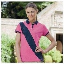 Women's diagonal stripe house polo