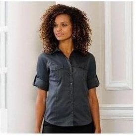 Women's roll-sleeve 3/4 sleeve shirt